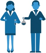 Graphical abstract for Shishkova's article, depicting a male and a female scientist.