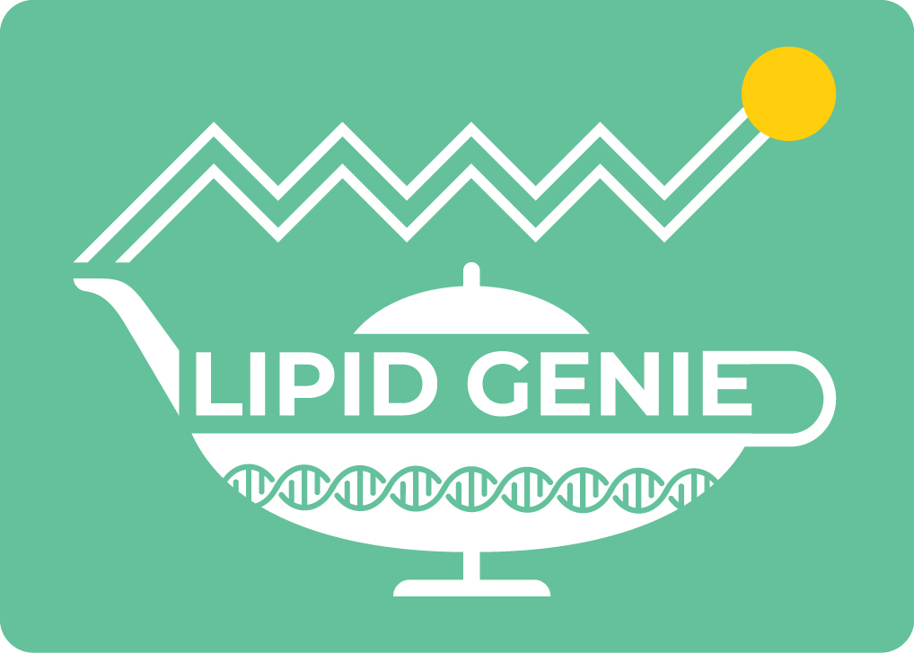 Lipid Genie Logo. This logo depicts a magic lamp with a DNA helix inside, and a lipid structure exiting through the spout of the lamp.
