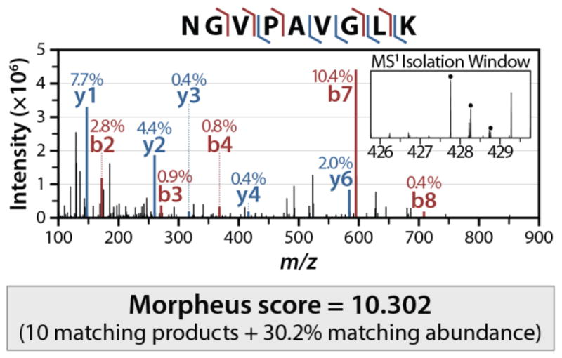 Graphical abstract for the Morpheus manual, demonstrating the algorithm's matching capabilities  Morpheus score =10.302, 10 matching products +30.2% matching abundance.